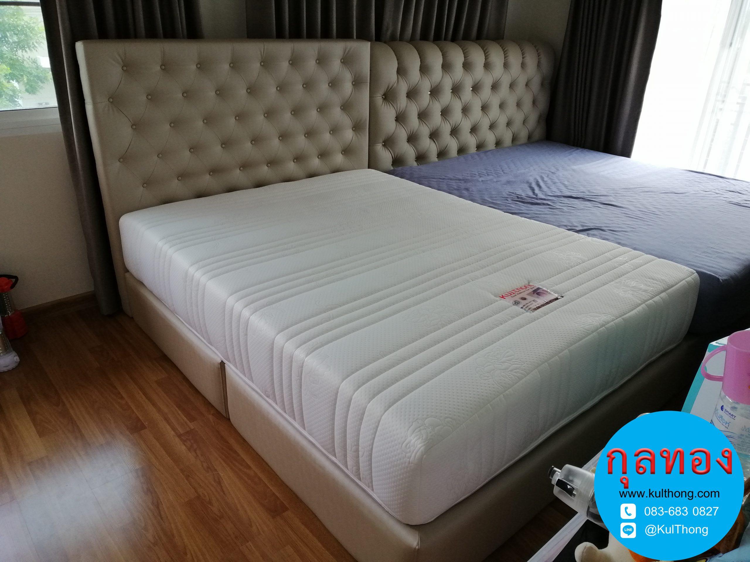 เตียงดึงกระดุม เตียงหัวบุนวม เตียงหุ้มหนัง ฐานรองที่นอน เตียงเก็บของ เตียงสั่งทำ