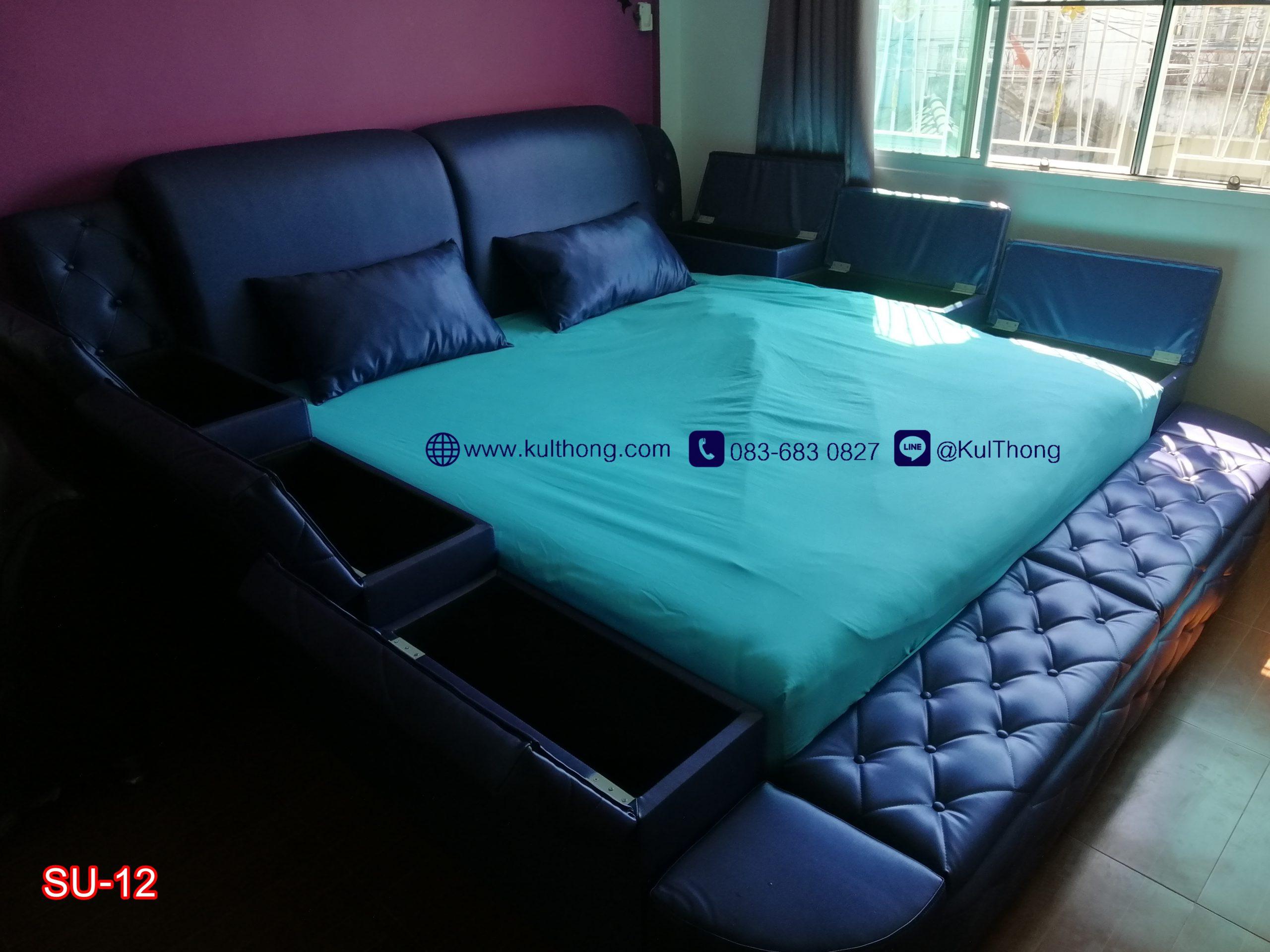เตียงกล่องหุ้มหนัง เตียงเก็บของ เตียงญี่ปุ่น เตียงขนาดใหญ่