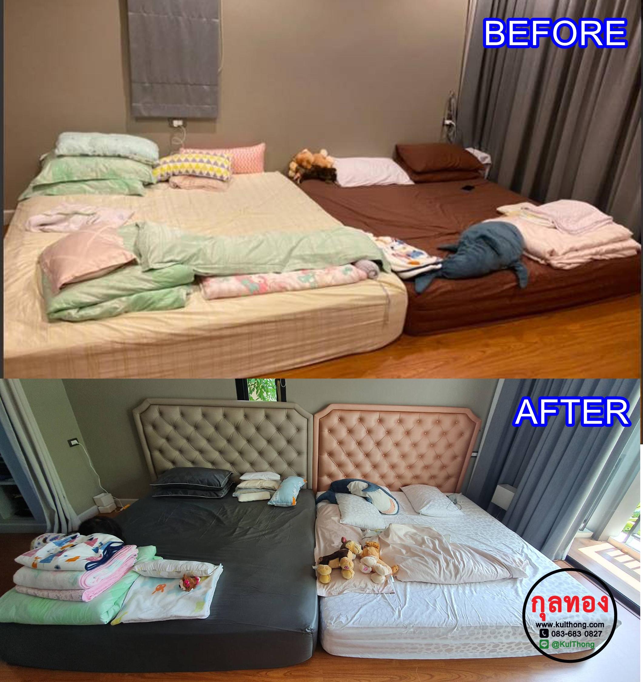 หัวเตียงสำเร็จ หัวเตียงดึงกระดุม หัวเตียงติดผนัง หัวเตียงหุ้มหนัง