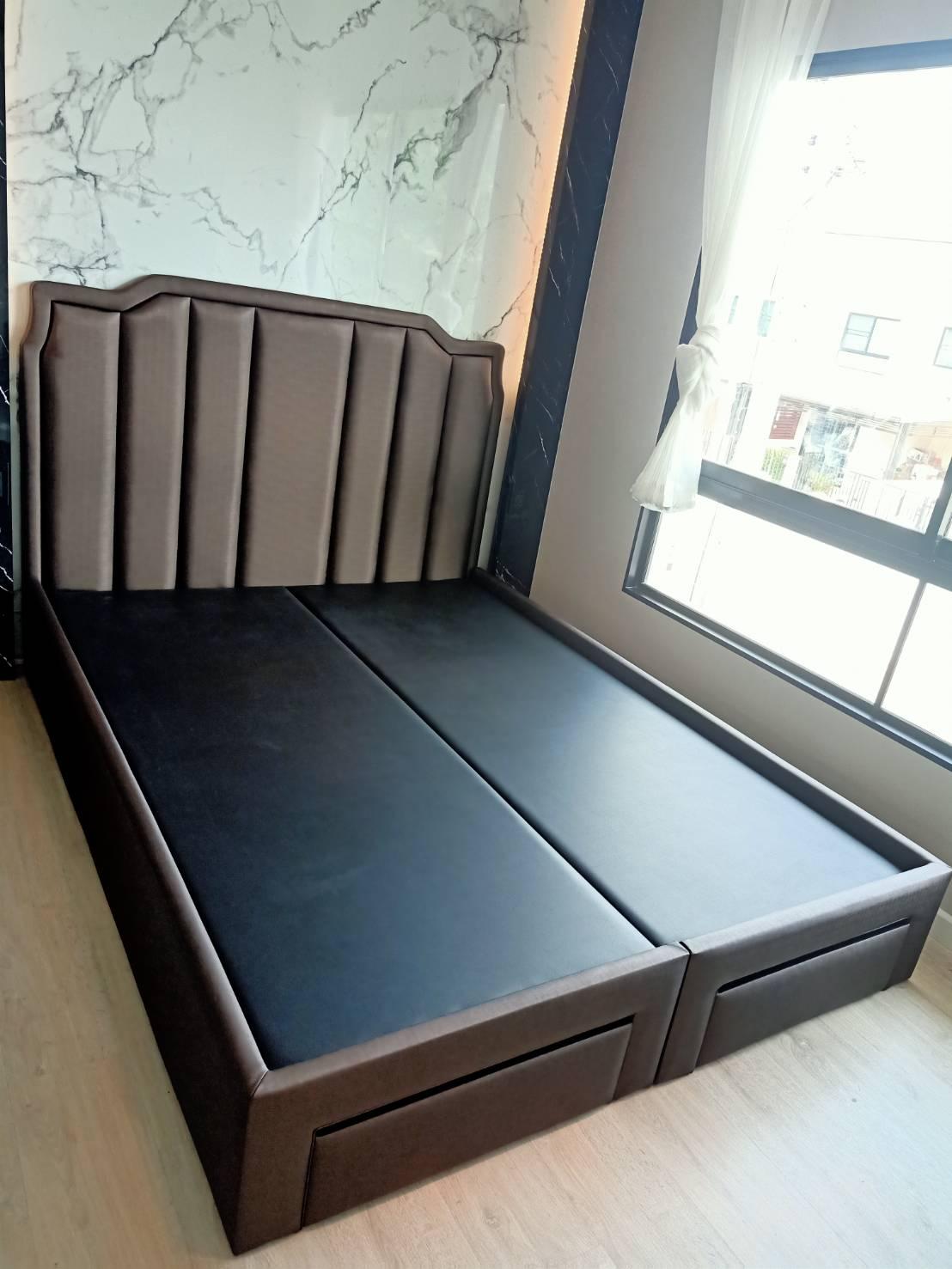ฐานรองที่นอน เตียงหุ้มหนังมีลิ้นชัก เตียงเก็บของ